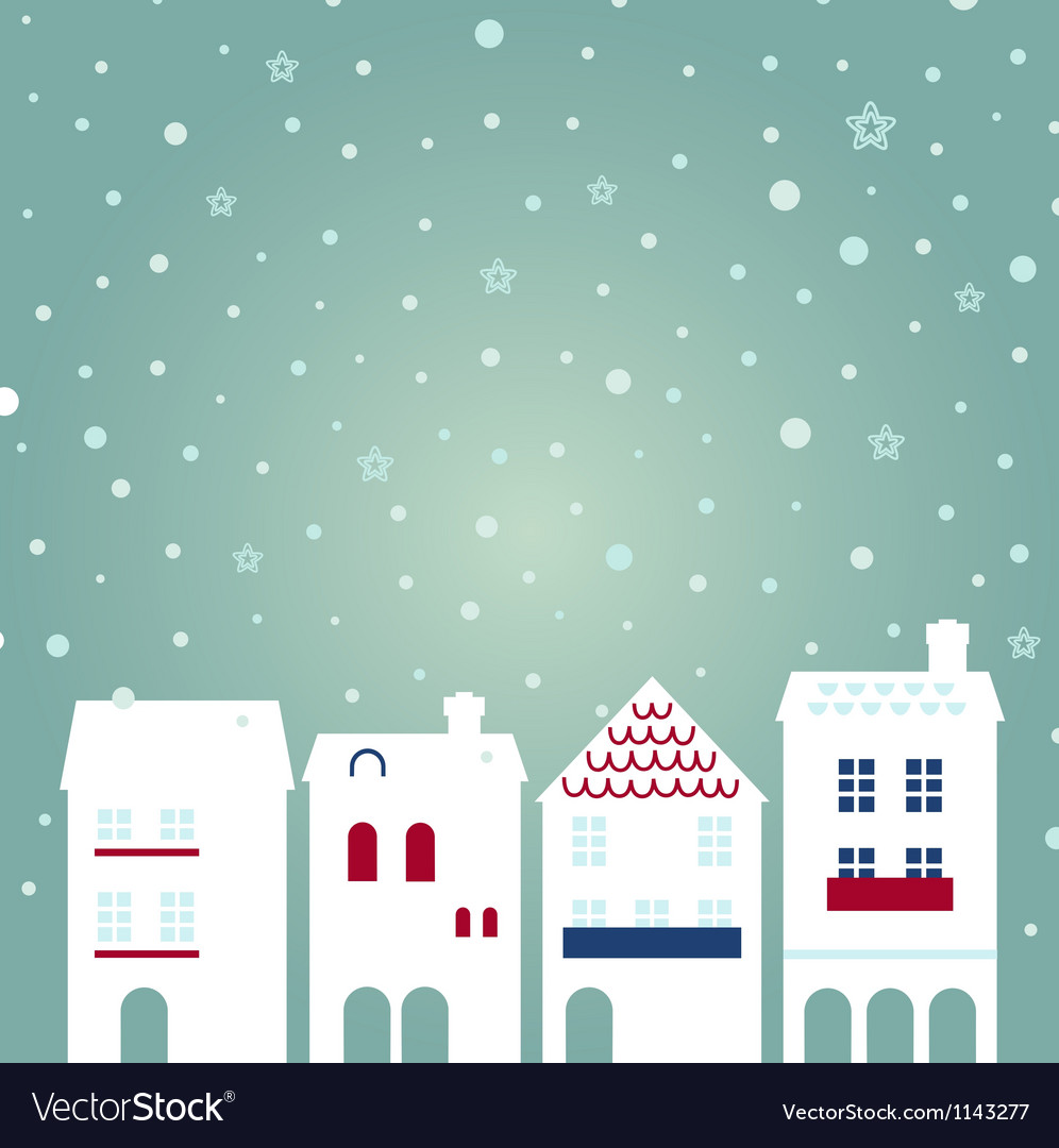 Christmas city on snowing background vector | Price: 1 Credit (USD $1)