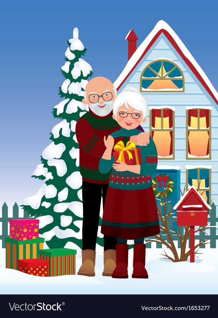 Elderly couple getting gifts at christmas vector | Price: 3 Credit (USD $3)