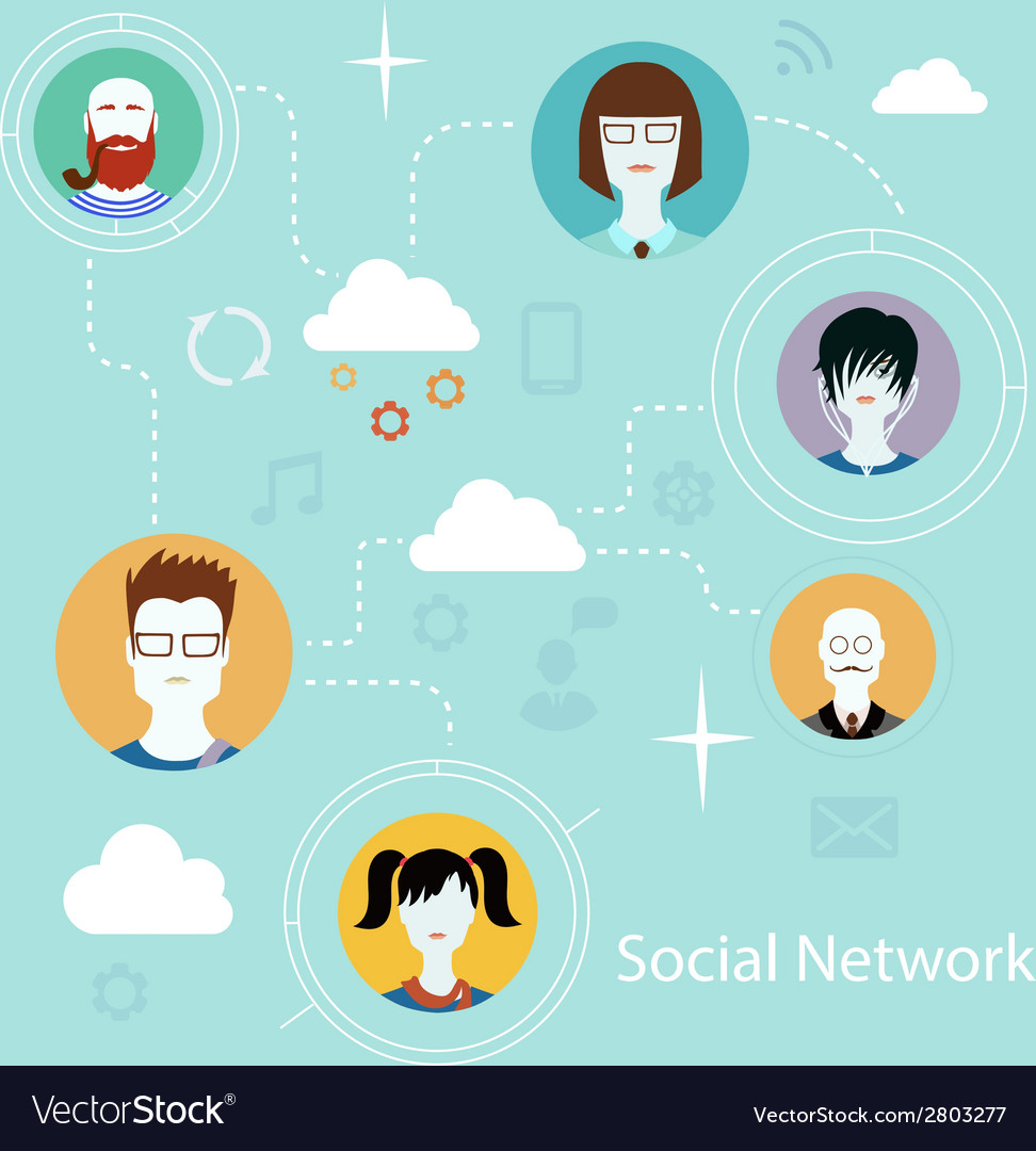 Flat icons for social media and network connection vector | Price: 1 Credit (USD $1)