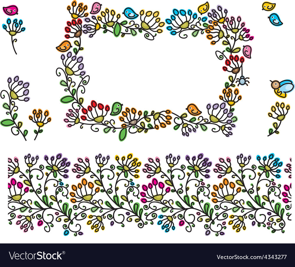 Floral frame elements vector | Price: 1 Credit (USD $1)
