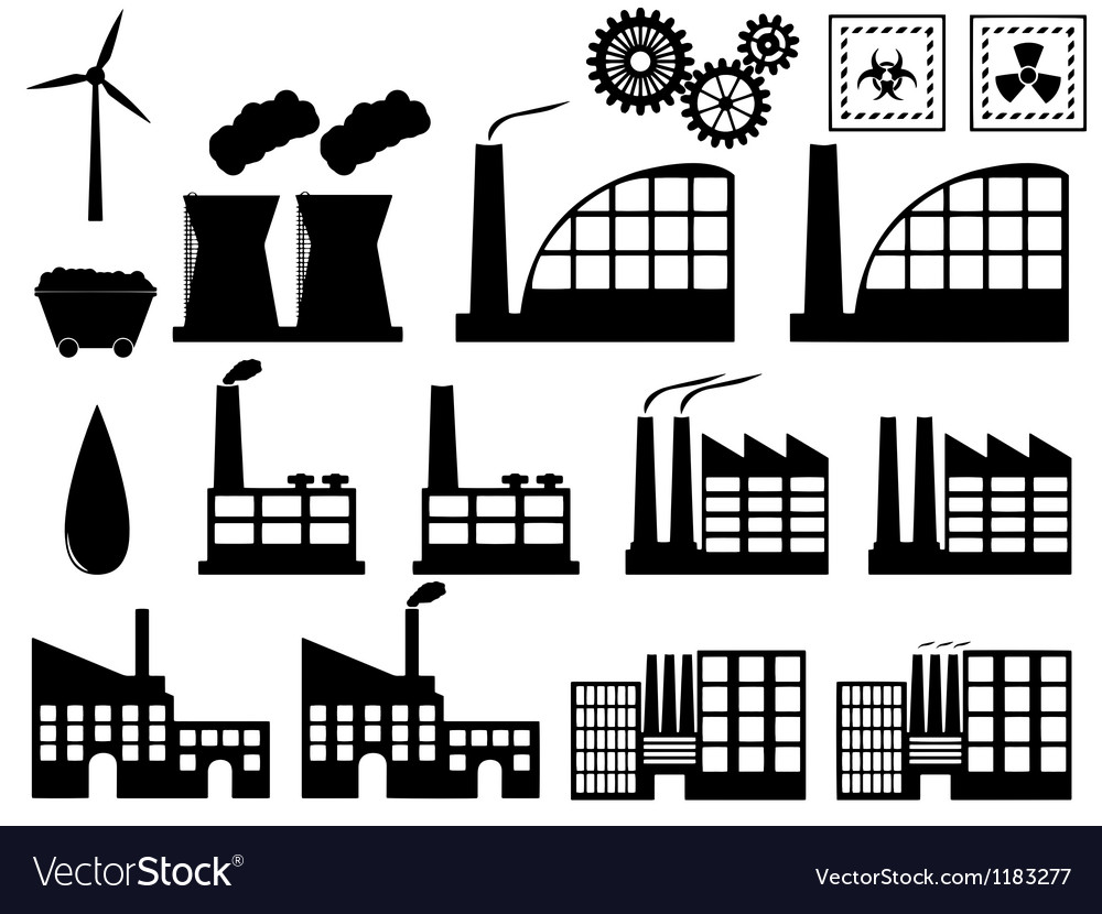 Industry buildings on white vector | Price: 1 Credit (USD $1)