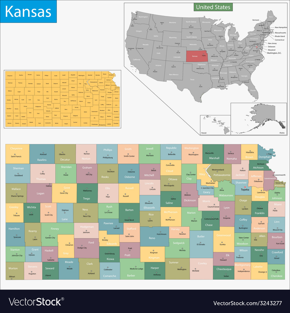 Kansas map vector | Price: 1 Credit (USD $1)