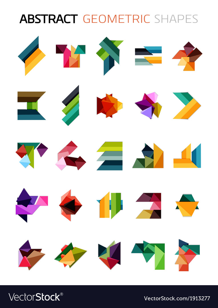 Set of colorful abstract geometric shapes vector | Price: 1 Credit (USD $1)