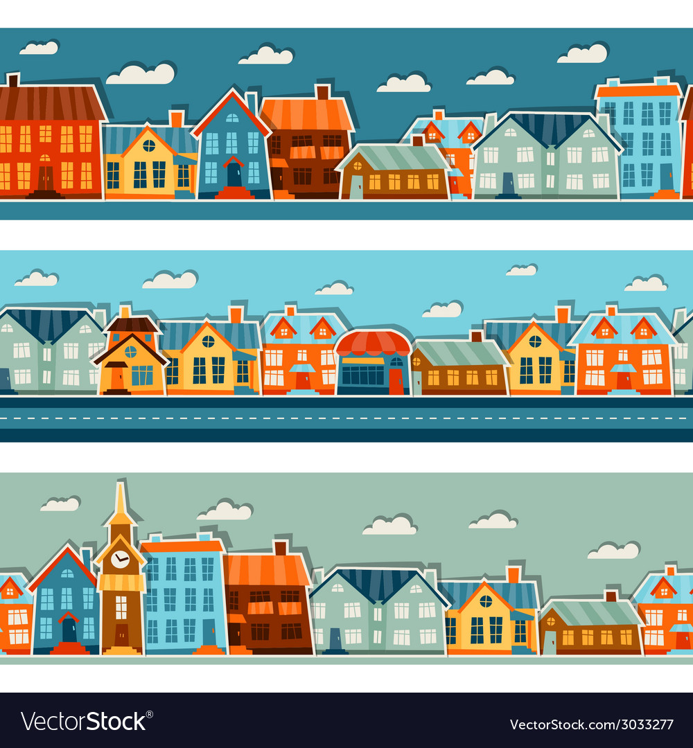 Town seamless patterns with cute colorful sticker vector | Price: 1 Credit (USD $1)