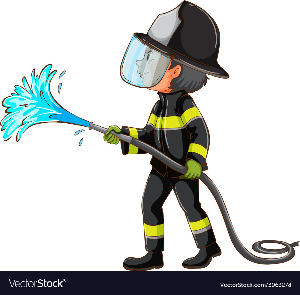 A simple drawing of a fireman holding a hose vector | Price: 1 Credit (USD $1)