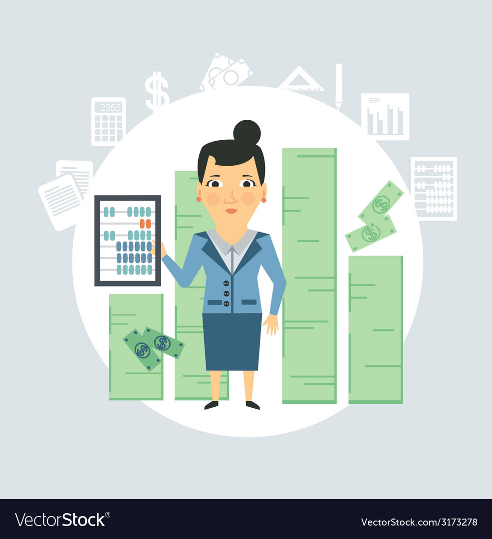 Accountant counting money vector | Price: 1 Credit (USD $1)