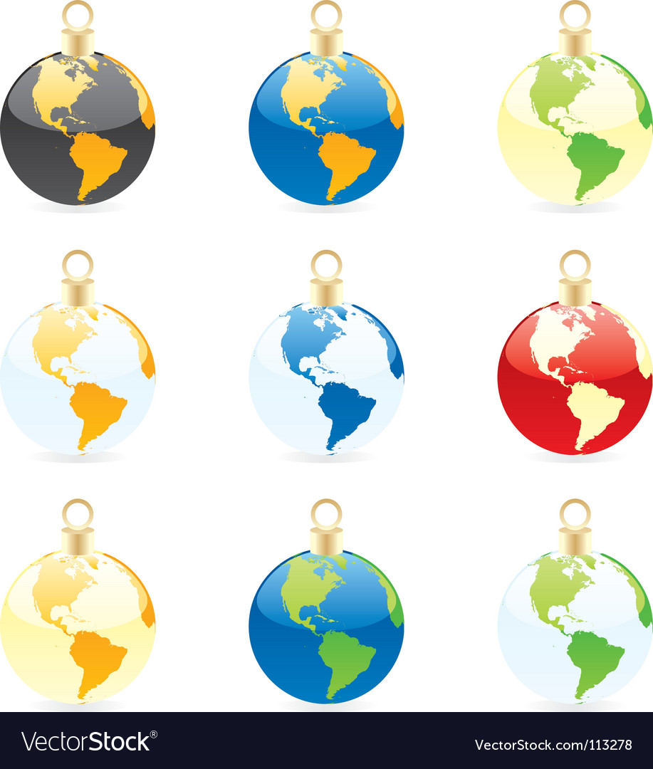 Christmas bulbs world globes vector   Price: 1 Credit (USD $1)