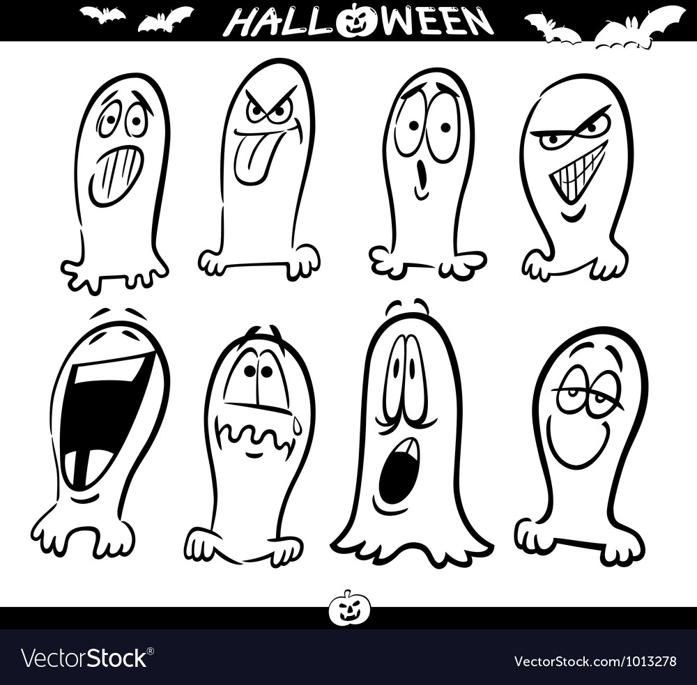 Halloween ghosts emoticons for coloring vector   Price: 1 Credit (USD $1)