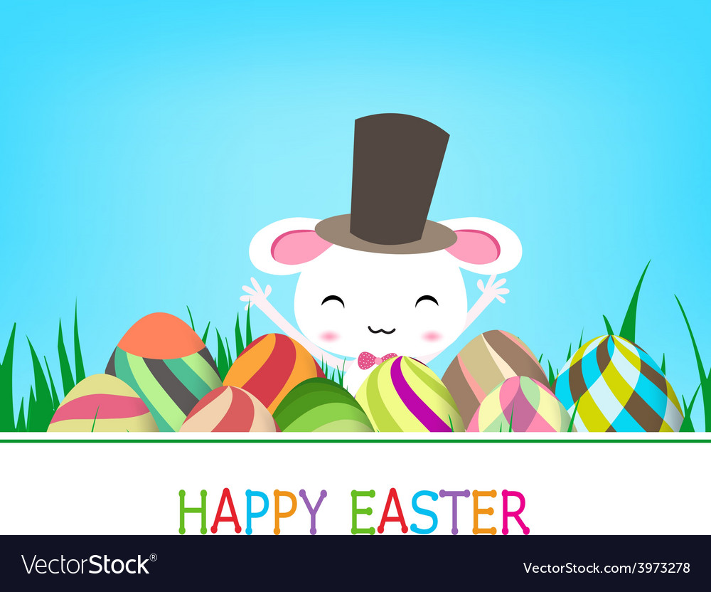 Happy easter eggs and bunny banner vector | Price: 1 Credit (USD $1)