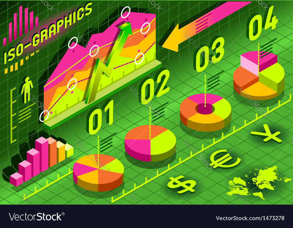 Isometric infographic histogram set elements in vector | Price: 1 Credit (USD $1)