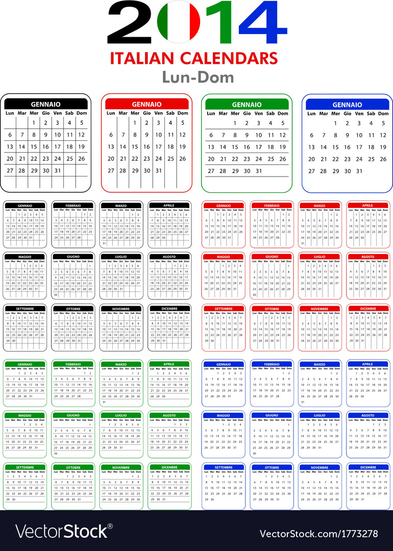 Italian calendar 2014 vector | Price: 1 Credit (USD $1)