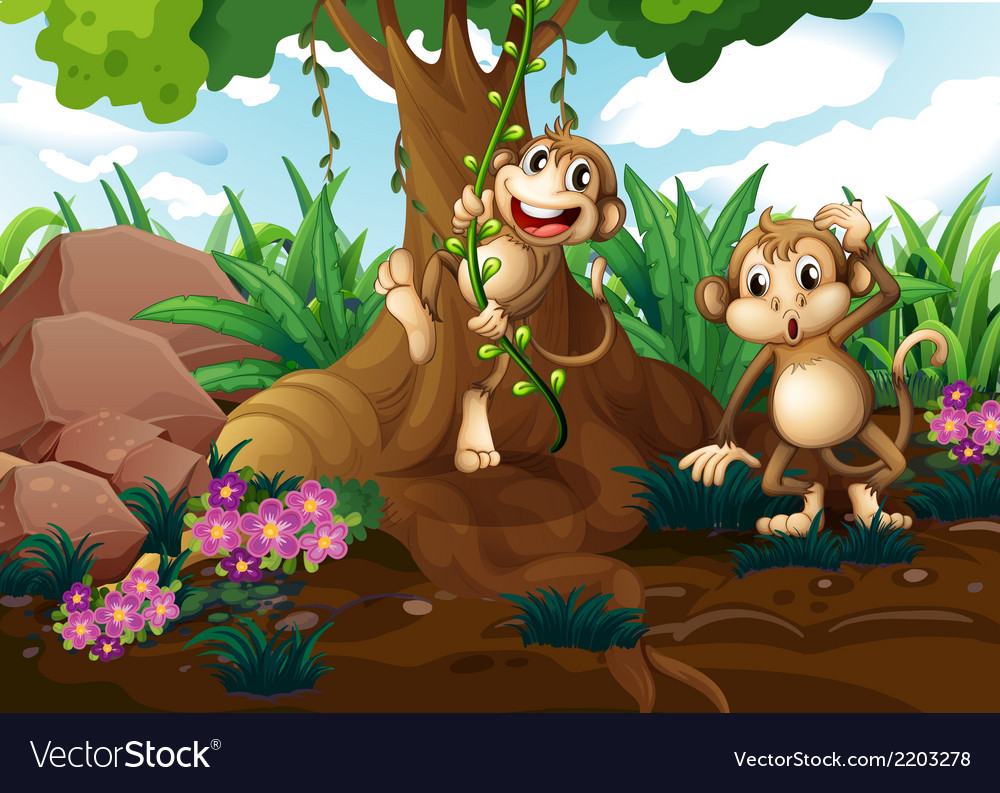 Monkeys playing under the tree vector | Price: 3 Credit (USD $3)
