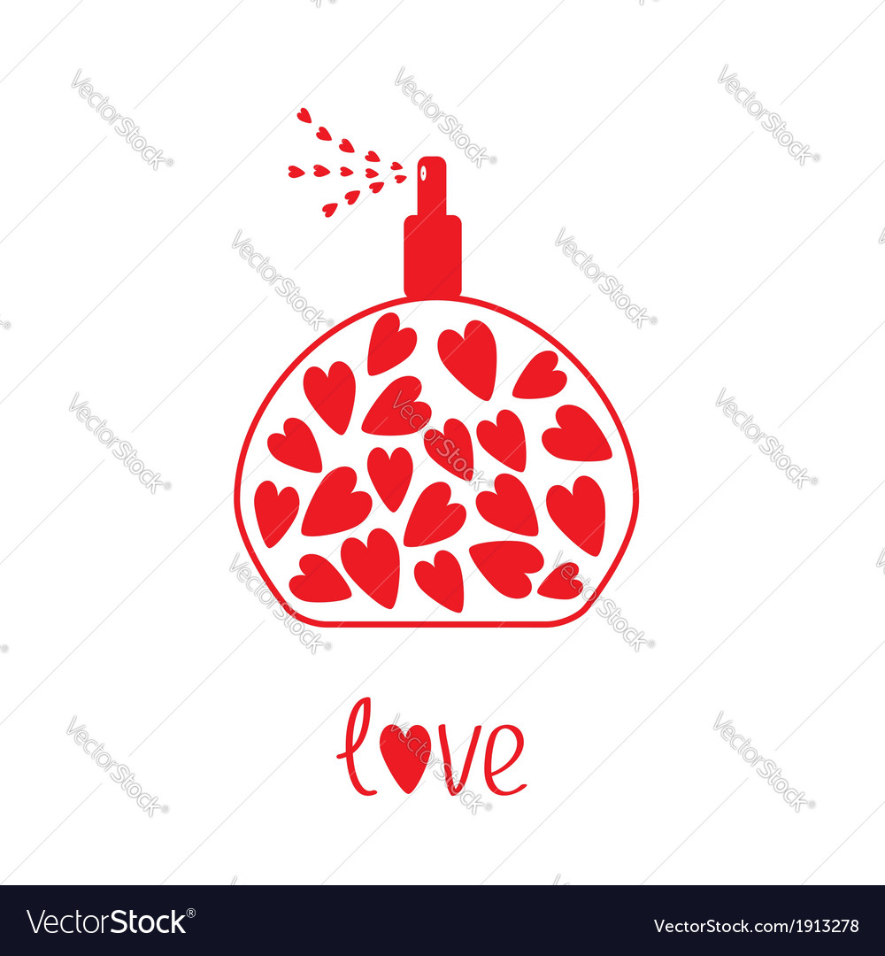 Perfume with hearts inside card vector | Price: 1 Credit (USD $1)
