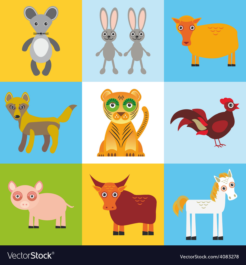 Scrap card with animals seamless pattern vector | Price: 1 Credit (USD $1)