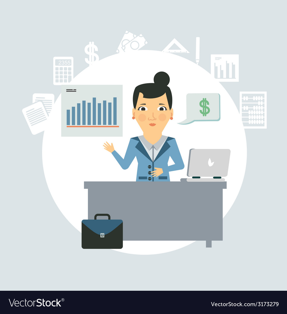 Accountant sitting behind a desk vector | Price: 1 Credit (USD $1)