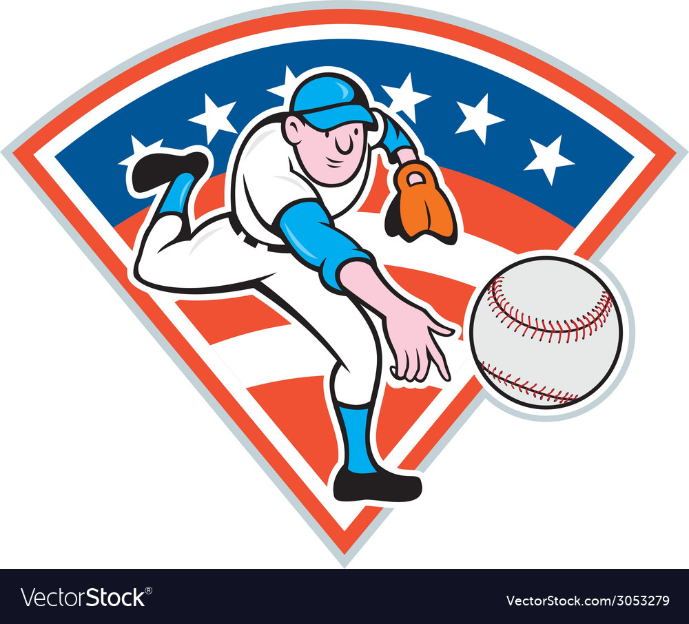 American baseball pitcher throwing ball cartoon vector | Price: 1 Credit (USD $1)