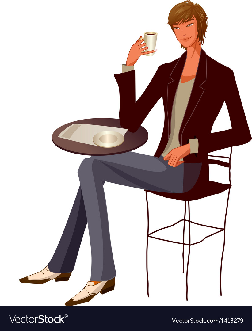 Close-up of man holding cup vector | Price: 3 Credit (USD $3)