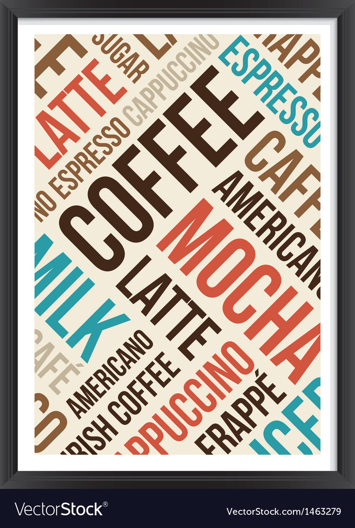 Coffee words cloud poster vector | Price: 1 Credit (USD $1)
