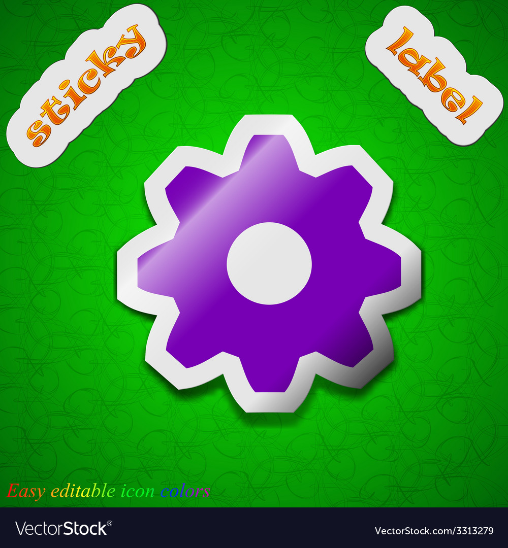 Cog settings icon sign symbol chic colored sticky vector | Price: 1 Credit (USD $1)