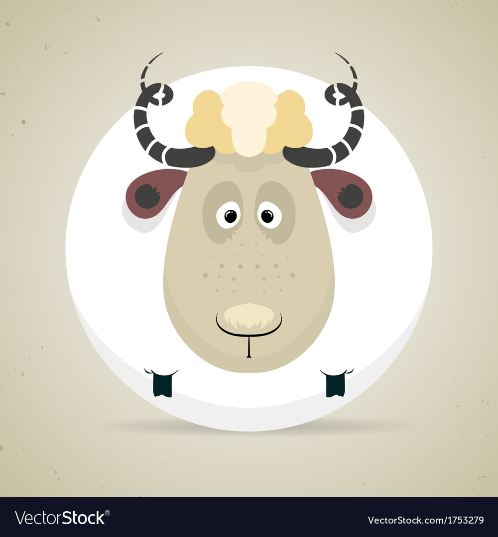 Cute cartoon smiling sheep standing facing the vector | Price: 1 Credit (USD $1)