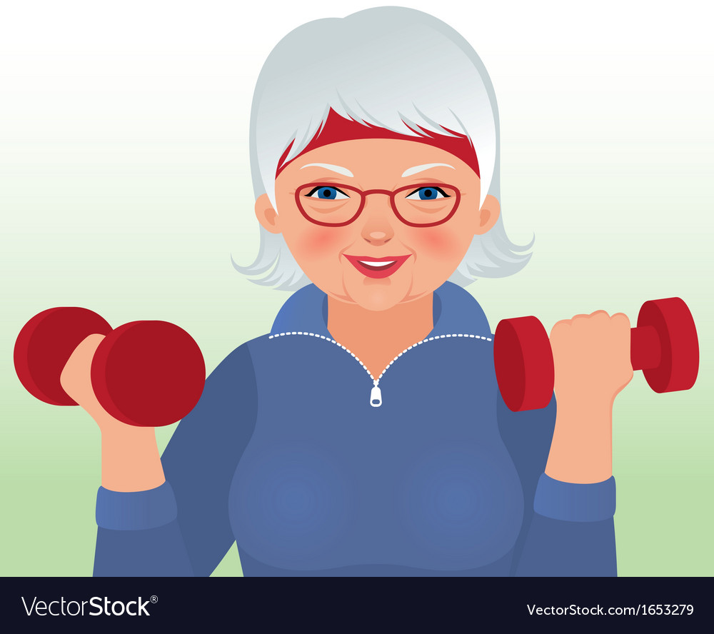 Elderly woman doing fitness vector | Price: 1 Credit (USD $1)
