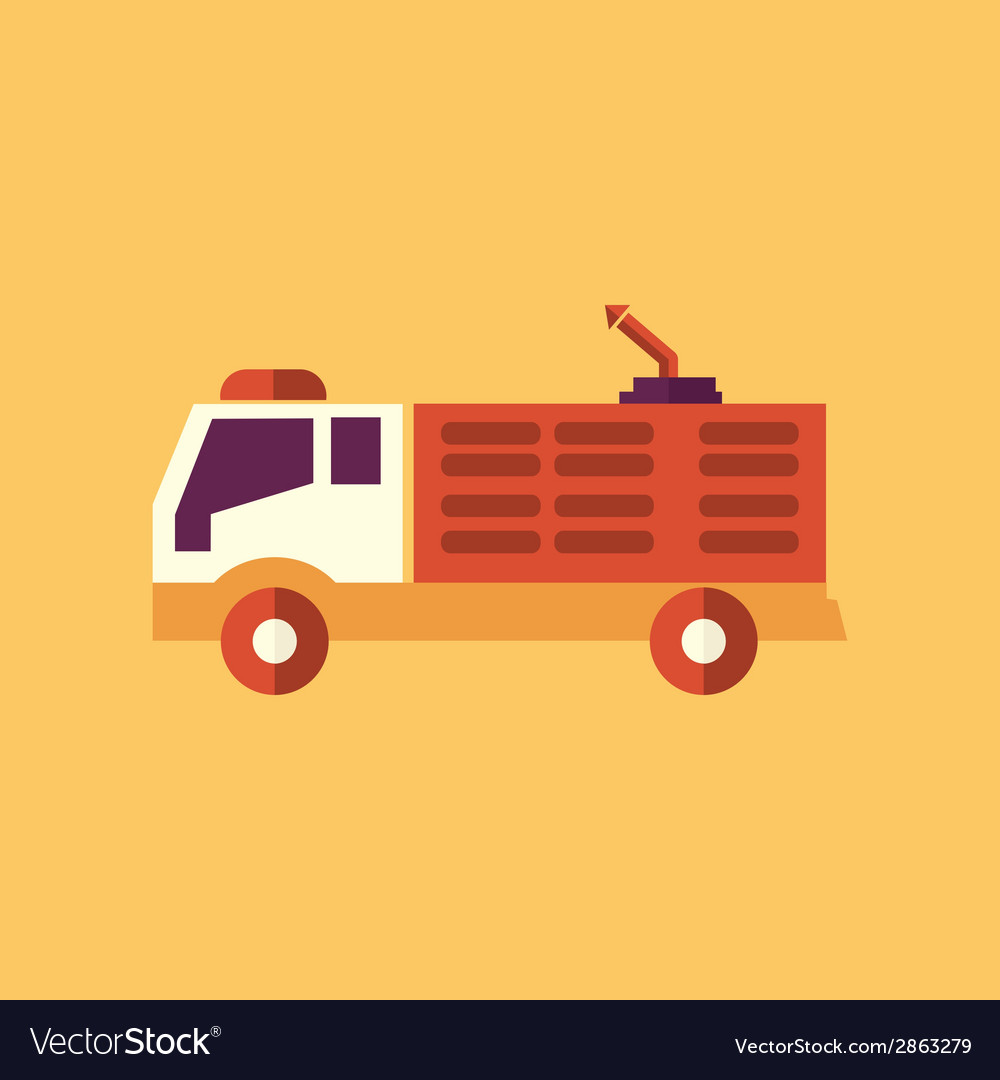 Fire truck transportation flat icon vector | Price: 1 Credit (USD $1)