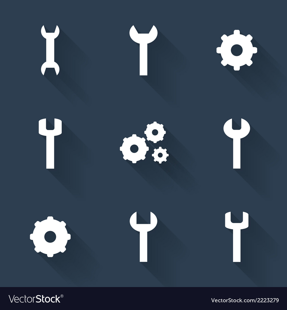 Gear and wrench white icons set over blue vector | Price: 1 Credit (USD $1)