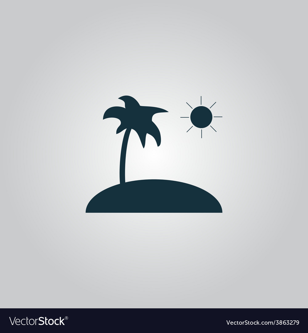 Island and palm icon vector | Price: 1 Credit (USD $1)