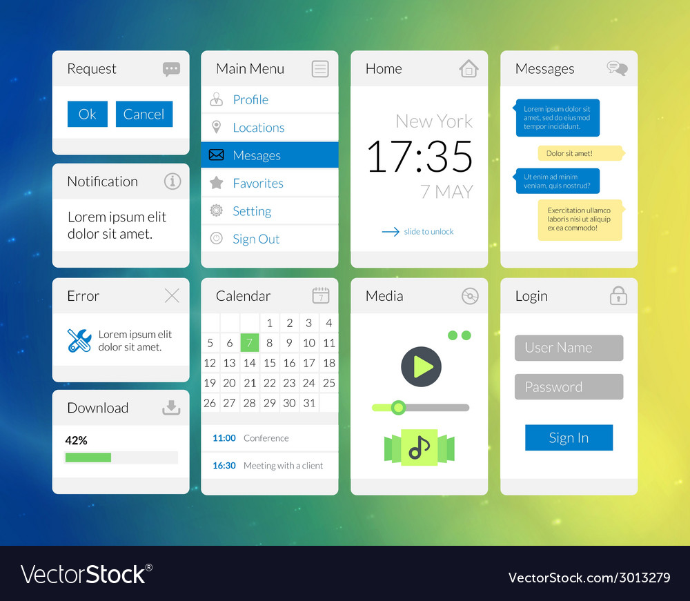 Mobile flat interface elements with colorful vector | Price: 1 Credit (USD $1)