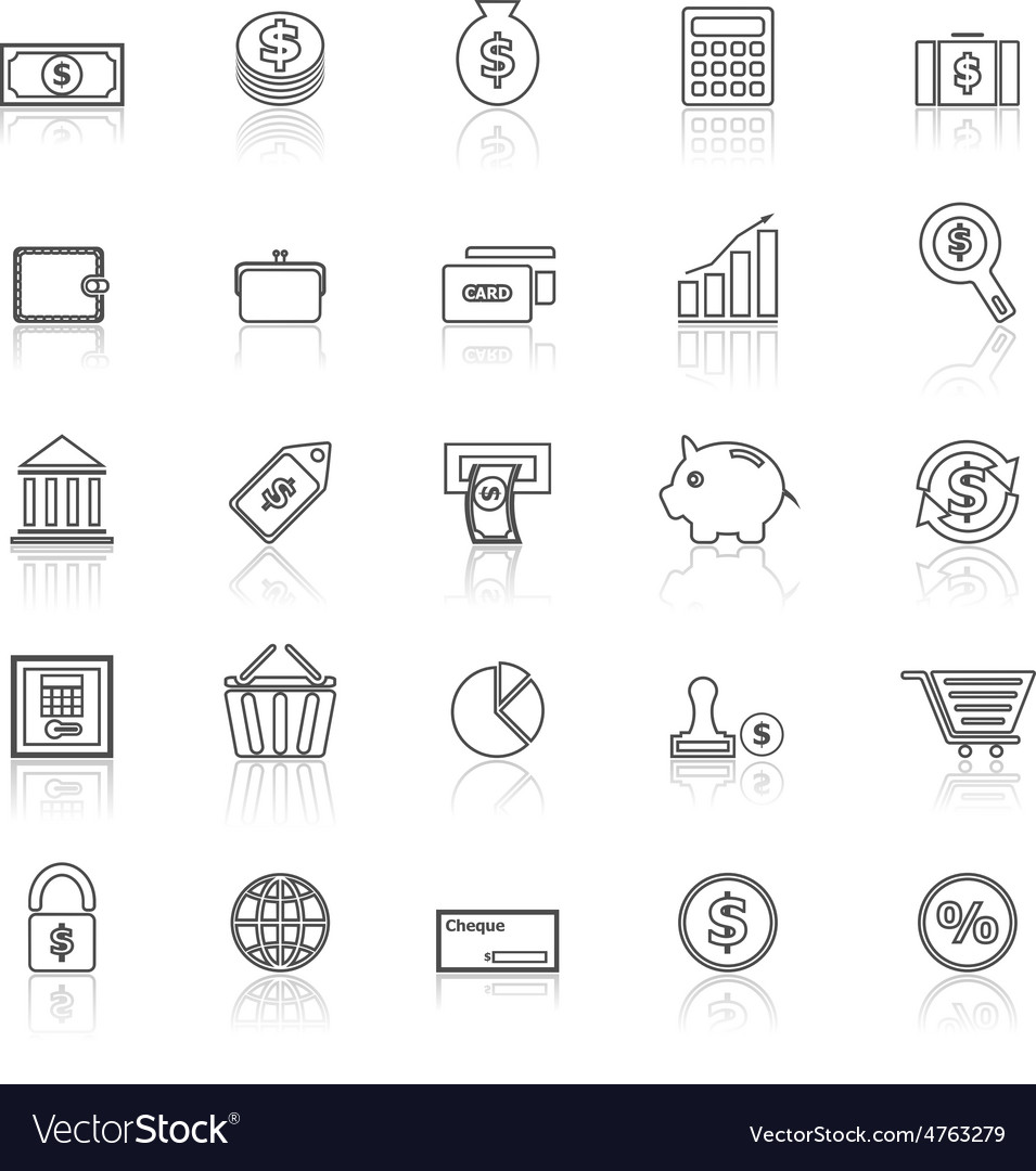 Money line icons with reflect on white vector | Price: 1 Credit (USD $1)