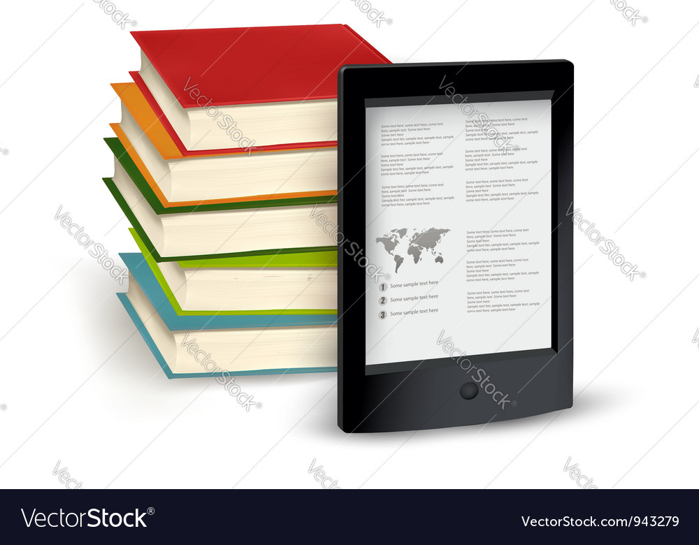 Stack of books and e-book vector | Price: 3 Credit (USD $3)