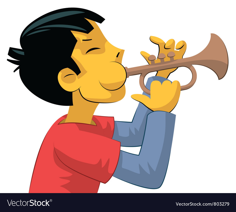 Trumpet player teenage boy vector | Price: 3 Credit (USD $3)