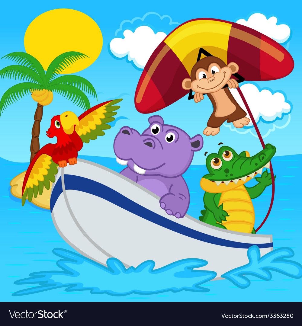 Animals on boat ride with monkey on hang glider vector | Price: 3 Credit (USD $3)