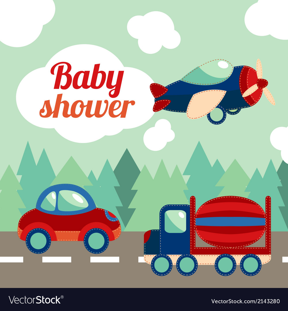 Baby shower toy transport card vector | Price: 1 Credit (USD $1)