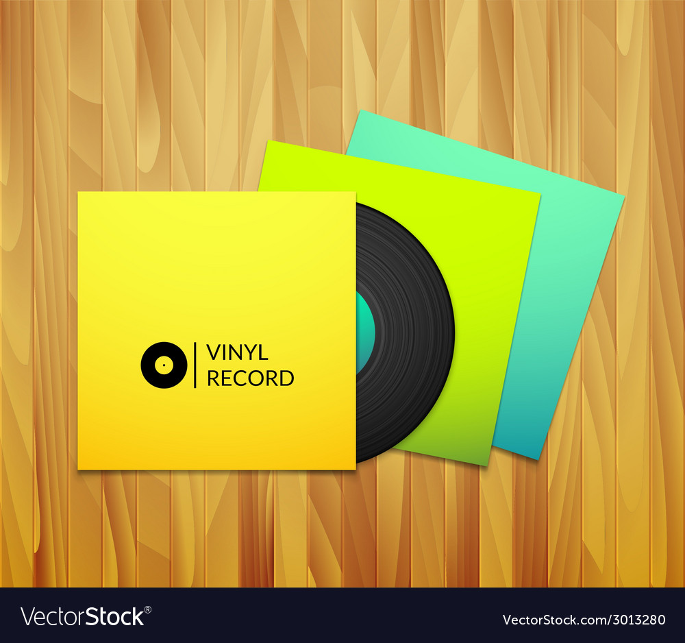Black vintage vinyl record with blank yellow blue vector | Price: 1 Credit (USD $1)