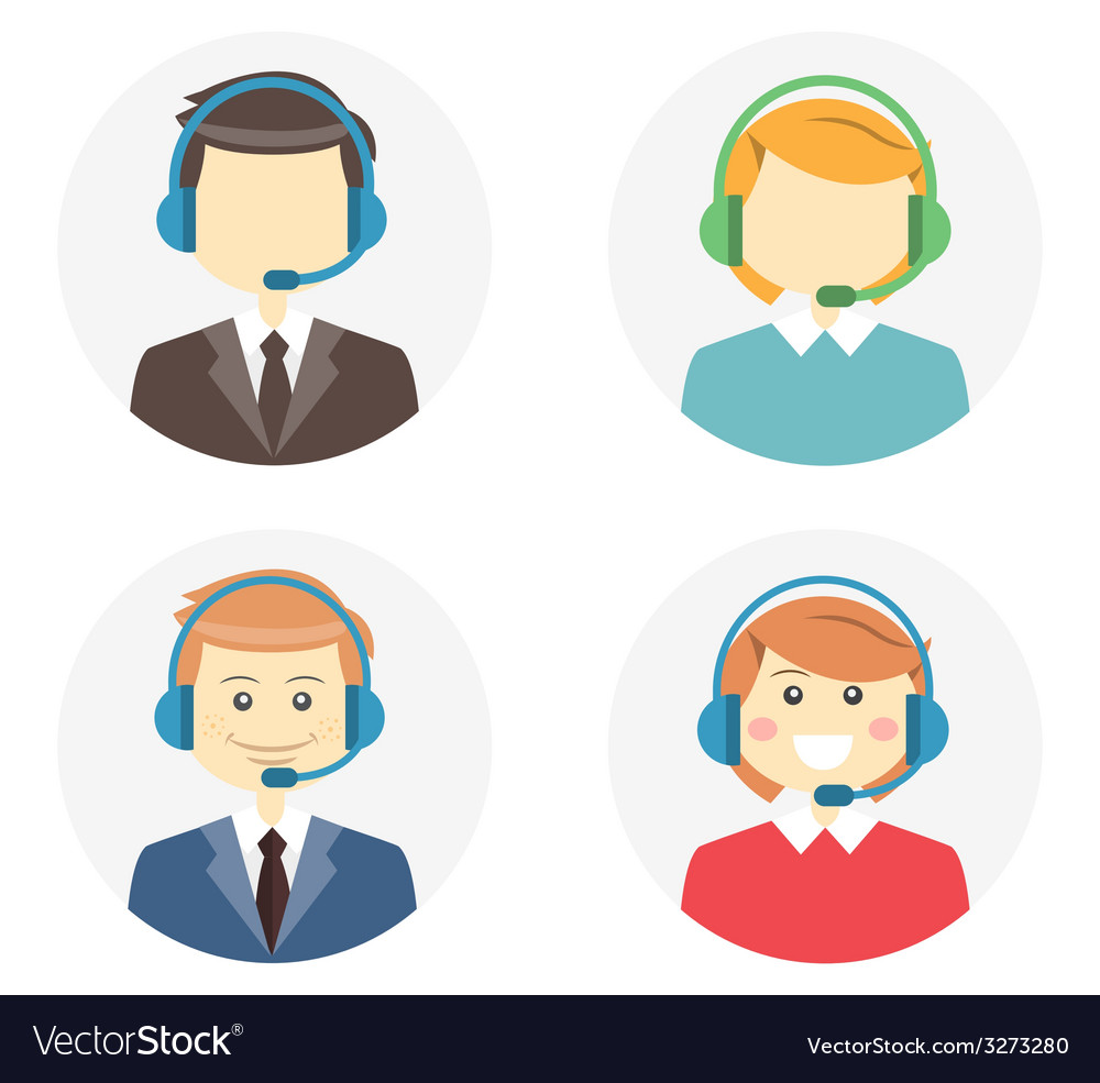Call center operator icons vector | Price: 1 Credit (USD $1)