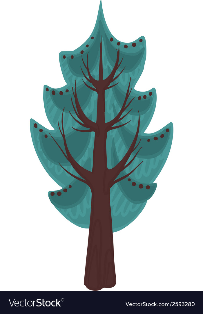 Cartoon conifer tree isolated vector | Price: 1 Credit (USD $1)