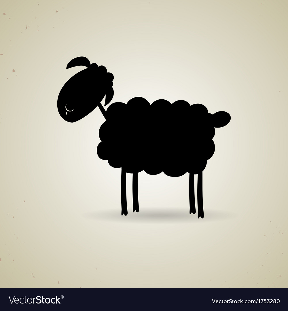 Cartoon silhouette of sheep standing sideways to vector | Price: 1 Credit (USD $1)