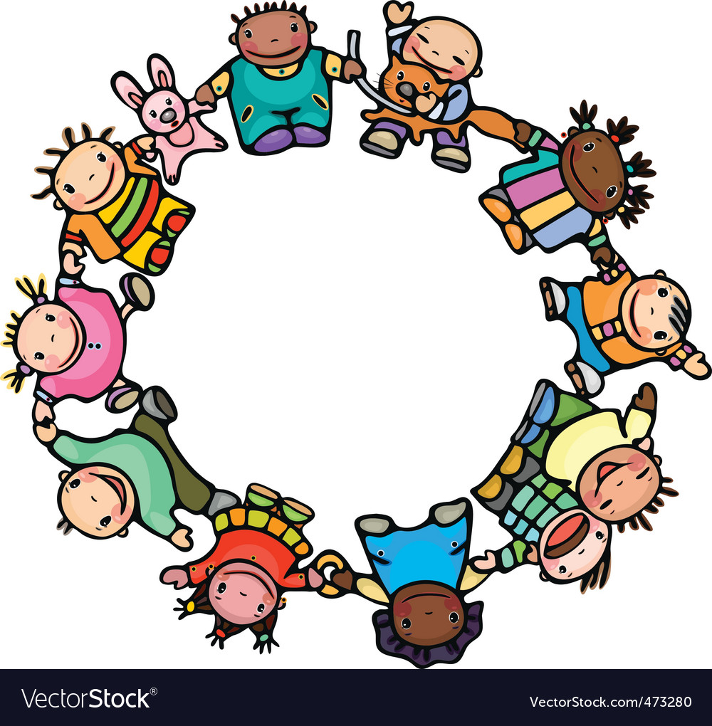 Circle of happy children vector | Price: 1 Credit (USD $1)