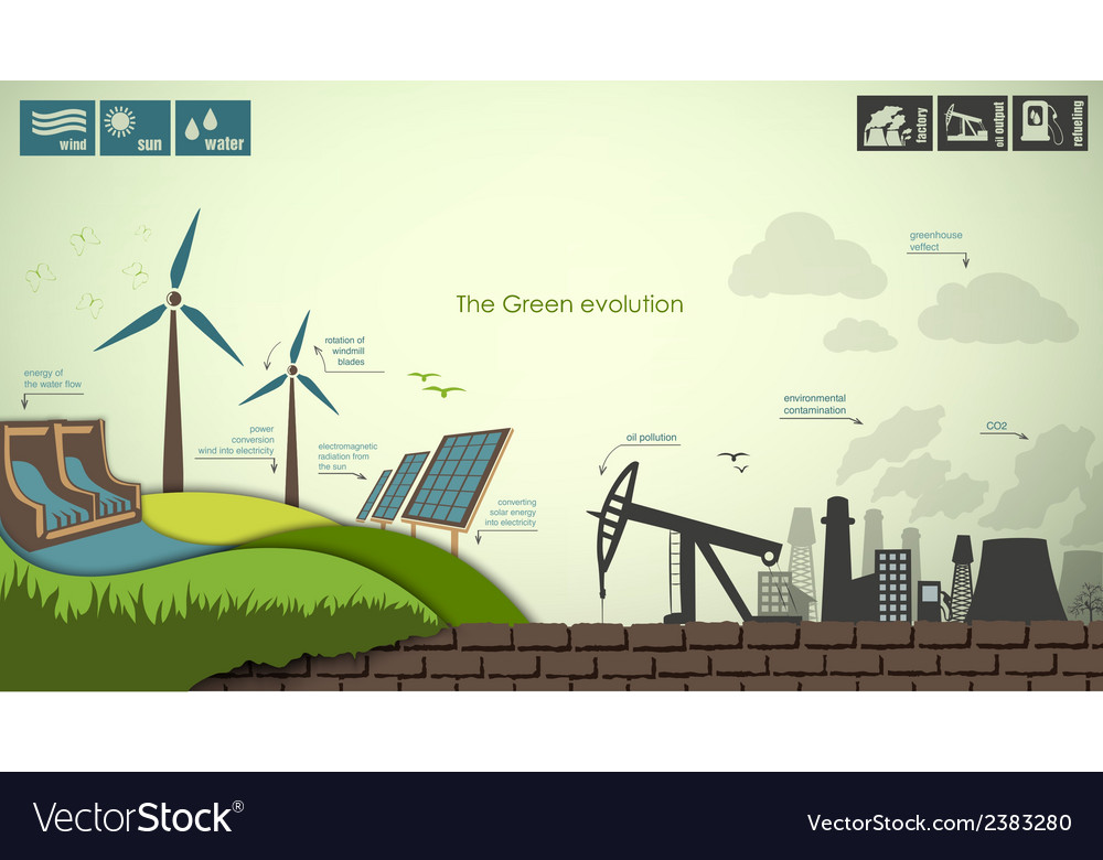 Concept of greening of the world infographics vector | Price: 1 Credit (USD $1)