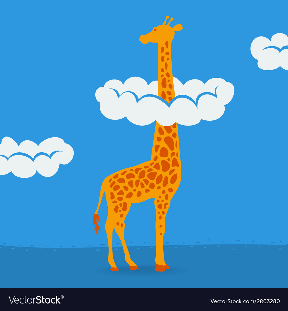 Giraffe on blue sky background vector | Price: 1 Credit (USD $1)