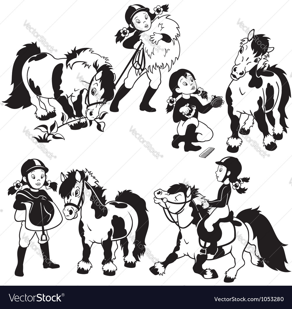 Girl and pony black and white vector | Price: 1 Credit (USD $1)