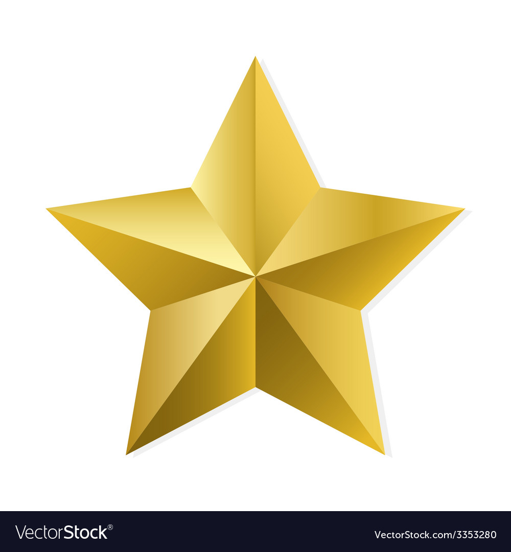 Gold star isolated object vector | Price: 1 Credit (USD $1)