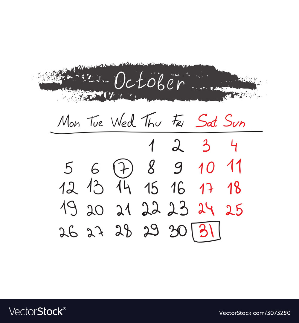 Handdrawn calendar october 2015 vector | Price: 1 Credit (USD $1)