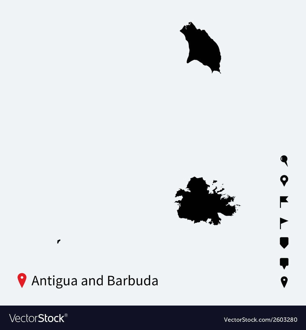 High detailed map of antigua and barbuda with vector | Price: 1 Credit (USD $1)