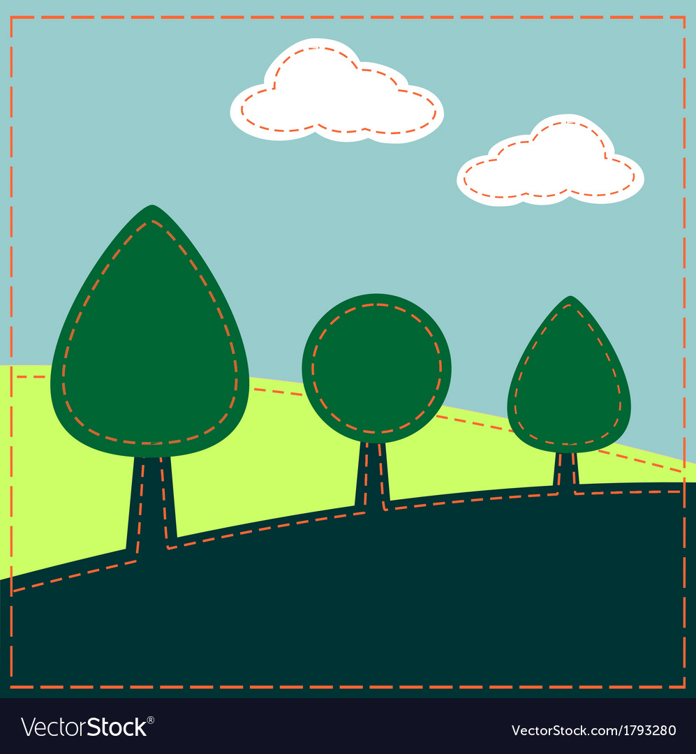 Stitched landscape with trees and clouds vector | Price: 1 Credit (USD $1)