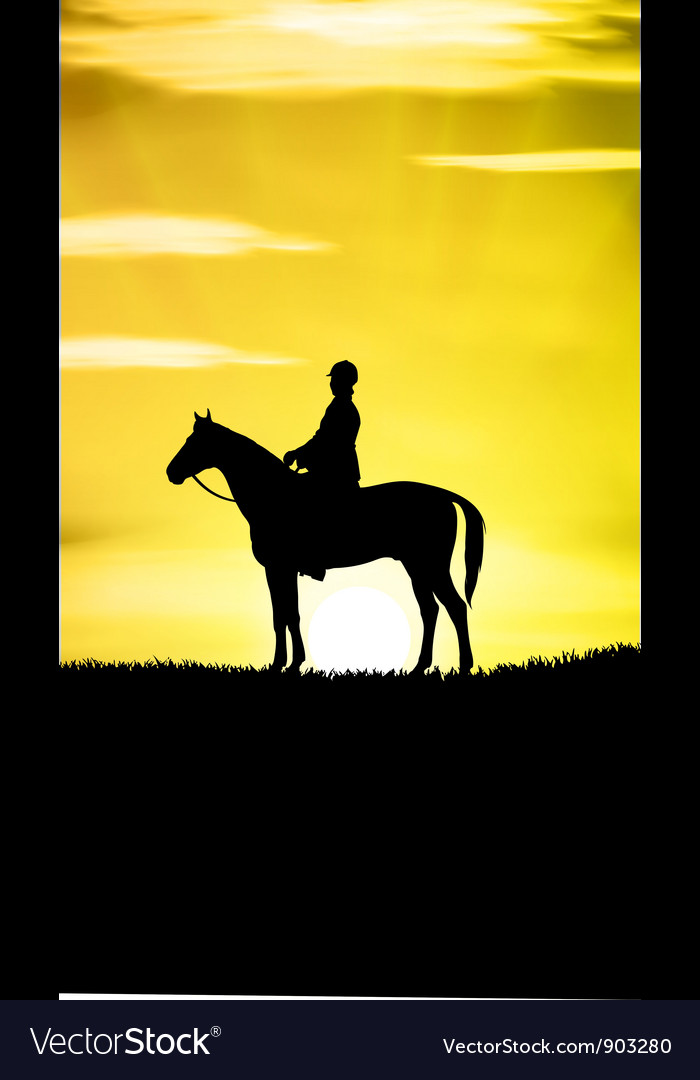 Sunset horse ride vector | Price: 1 Credit (USD $1)