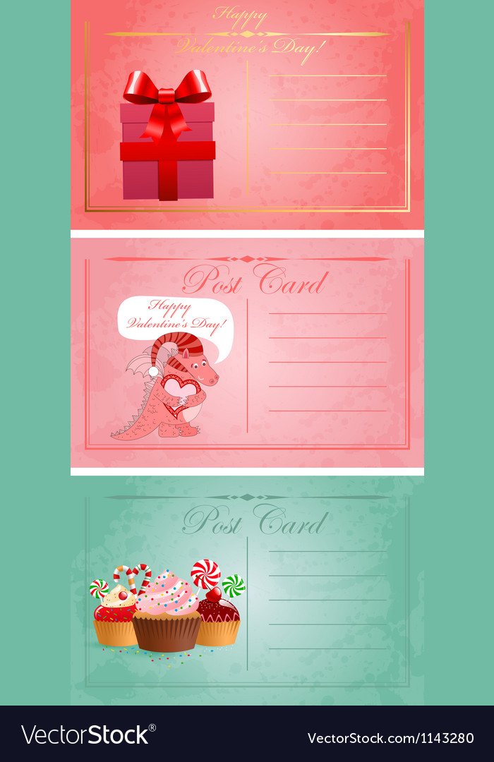 Vintage valentine day postcards vector | Price: 1 Credit (USD $1)
