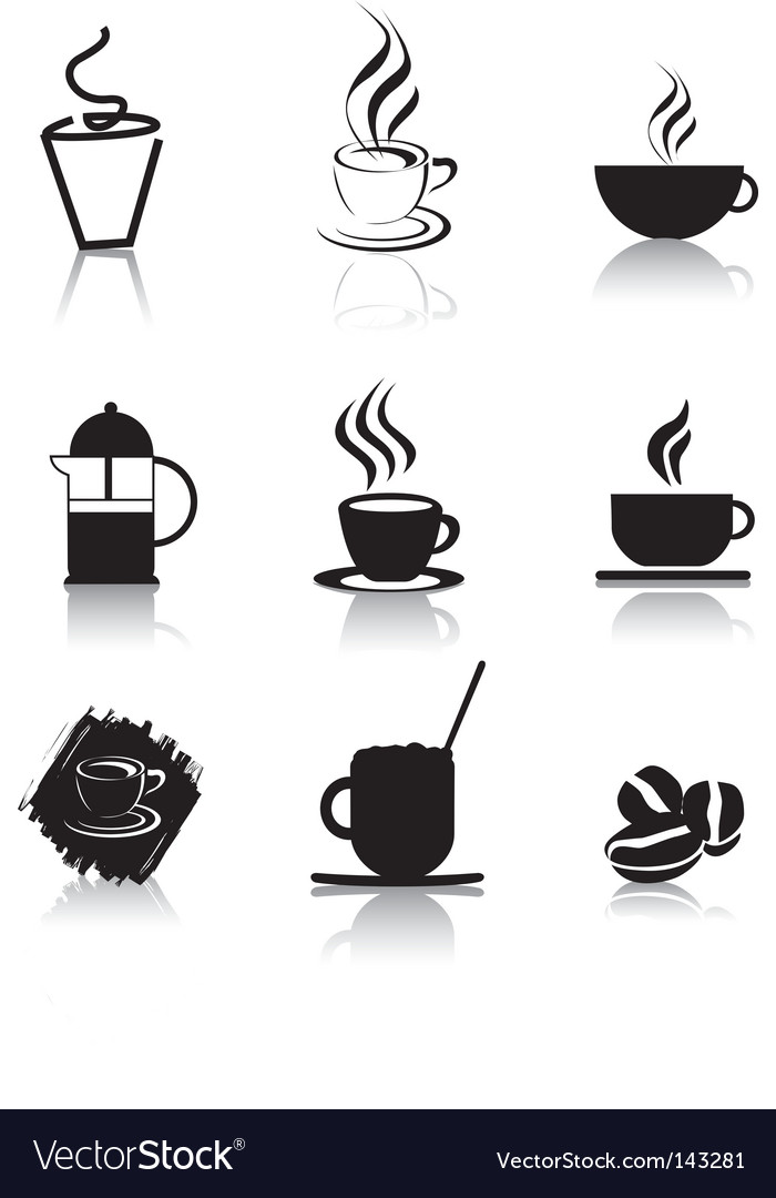 Coffee icons silhouette vector | Price: 1 Credit (USD $1)