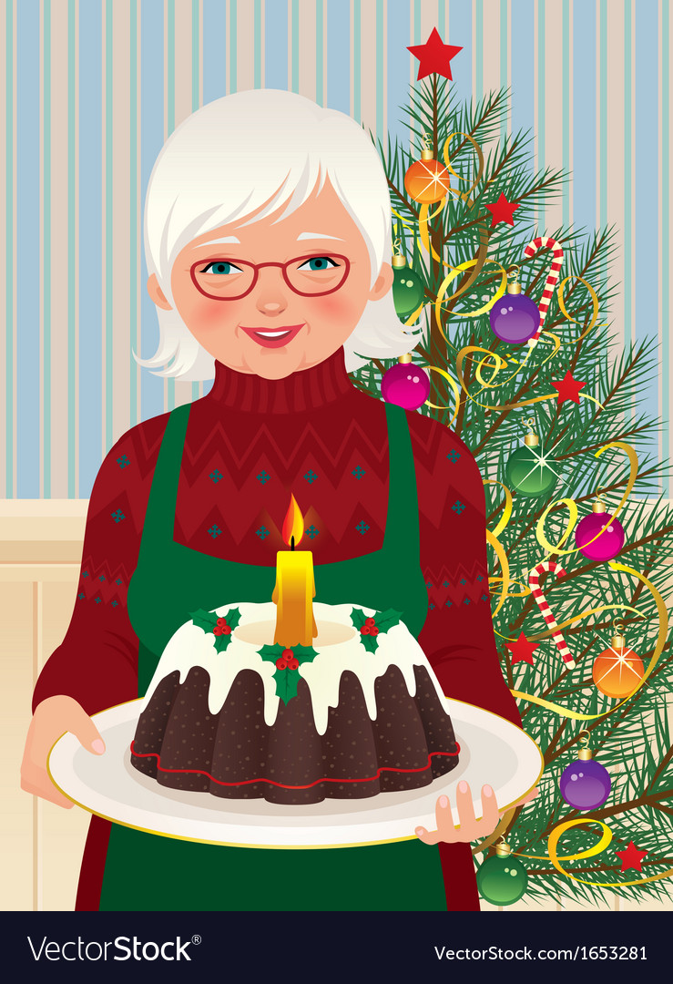 Grandmother and christmas cake vector | Price: 3 Credit (USD $3)